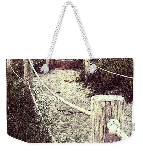 Grassy Beach Post Entrance At Sunset Weekender Tote Bag