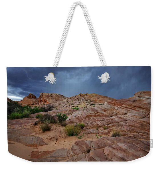 Gray And Red In The Valley Of Fire Weekender Tote Bag