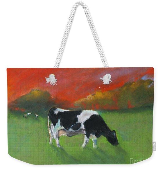 Grazing Cow Weekender Tote Bag