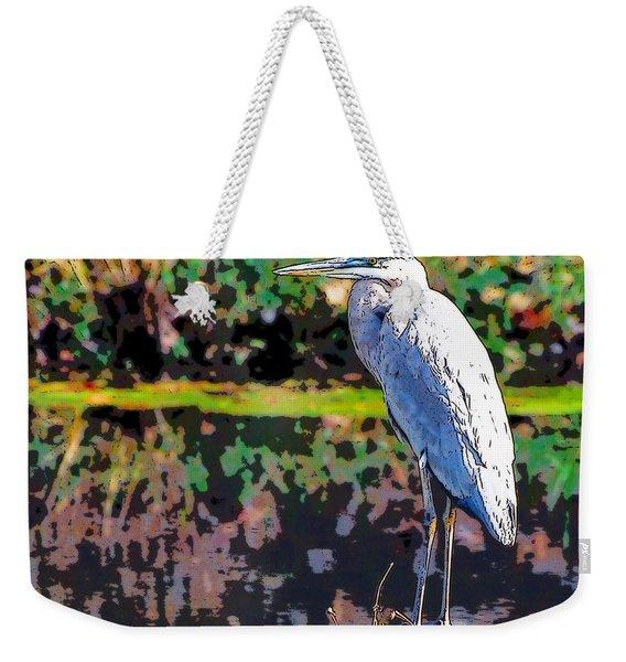 Great Blue Heron At The Pond Weekender Tote Bag