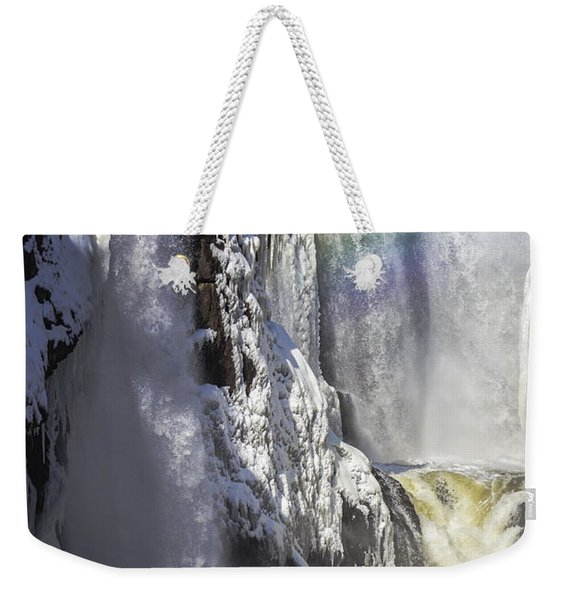 Great Falls And A Rainbow Weekender Tote Bag