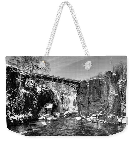 Great Falls In The Winter Weekender Tote Bag
