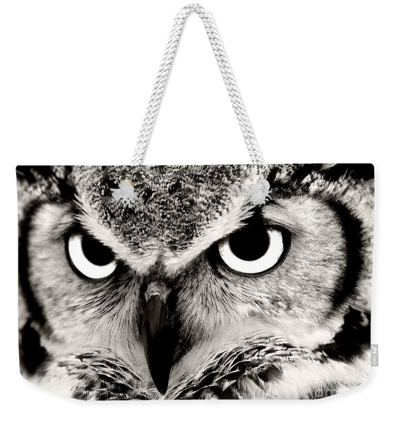 Great Horned Owl In Black And White Weekender Tote Bag