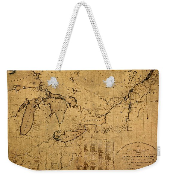 Great Lakes And Canada Vintage Map On Worn Canvas Circa 1812 Weekender Tote Bag