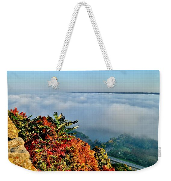 Great River Road Fog Weekender Tote Bag