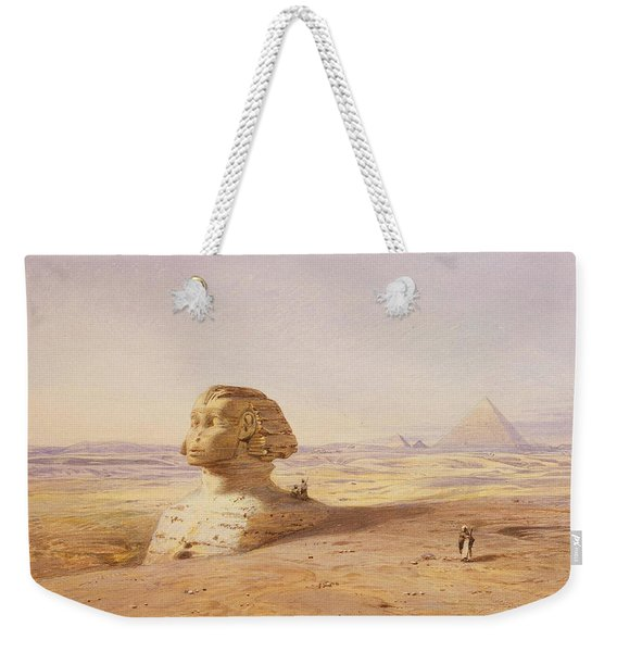 Great Sphinx Of Giza With Pyramids In The Background Weekender Tote Bag