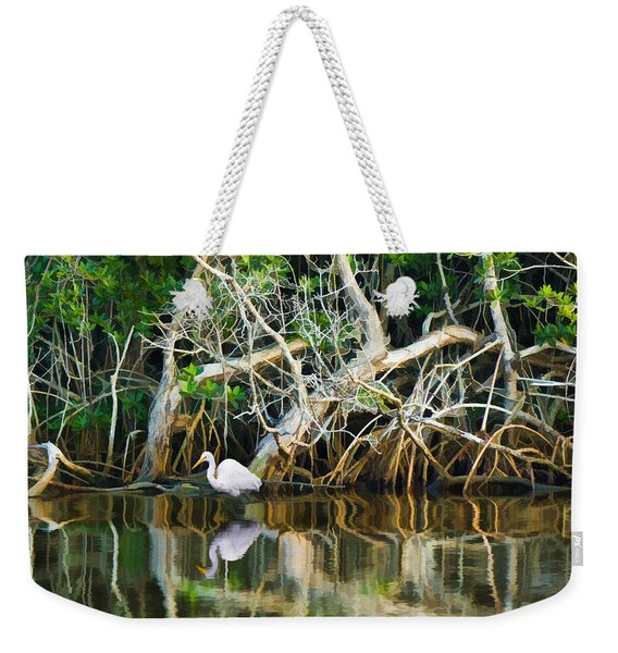 Great White Egret And Reflection In Swamp Mangroves Weekender Tote Bag