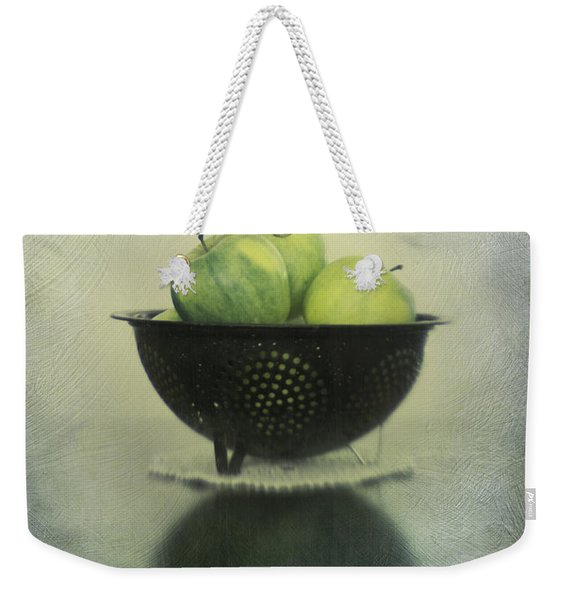 Green Apples In An Old Enamel Colander Weekender Tote Bag