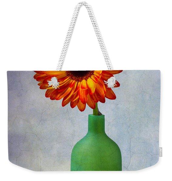 Green Bottle With Orange Daisy Weekender Tote Bag