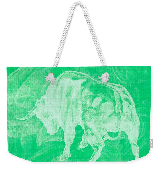 Green Bull Negative Weekender Tote Bag