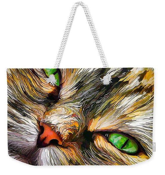 Green-eyed Tortie Weekender Tote Bag