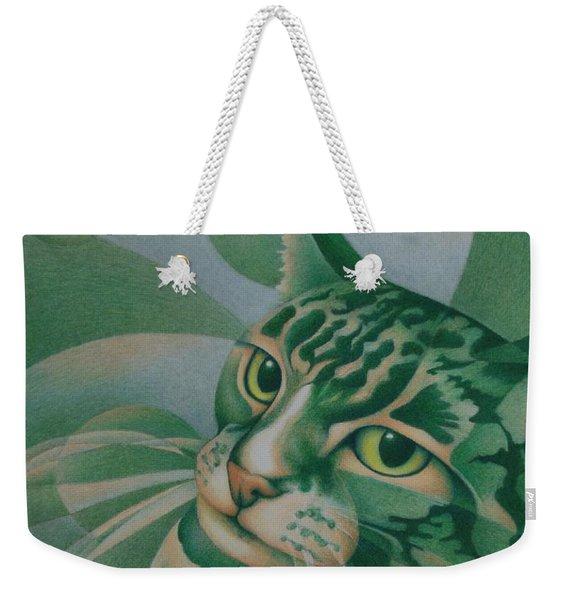 Green Feline Geometry Weekender Tote Bag