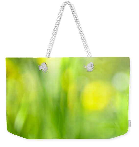 Green Grass With Yellow Flowers Abstract Weekender Tote Bag