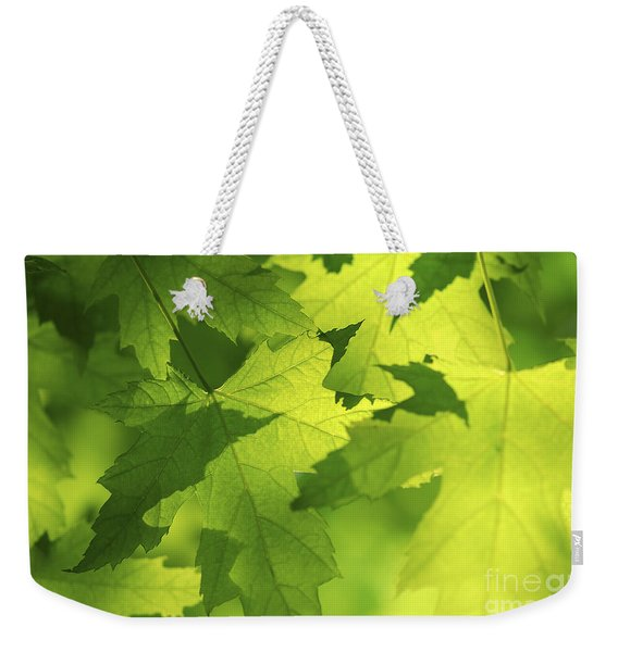 Green Maple Leaves Weekender Tote Bag