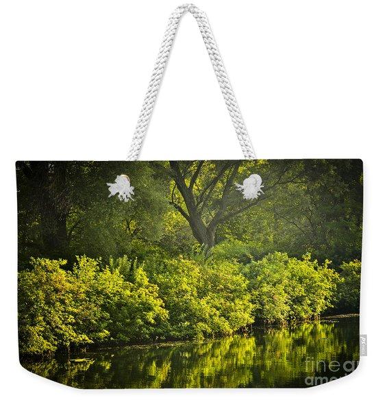 Green Reflections In Water Weekender Tote Bag