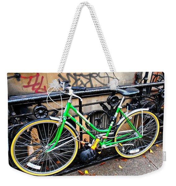 Green Schwinn Bike  Nyc Weekender Tote Bag