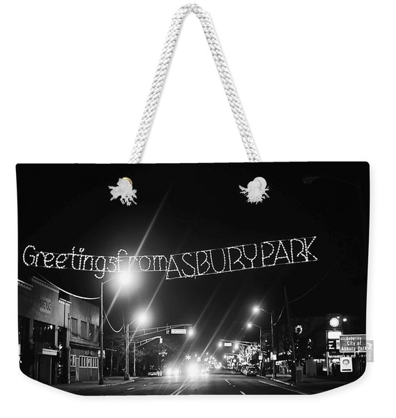 Greetings From Asbury Park New Jersey Black And White Weekender Tote Bag