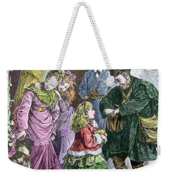 Greetings, Victorian Print, Hand Coloured By Pat Scott Living Artist Weekender Tote Bag