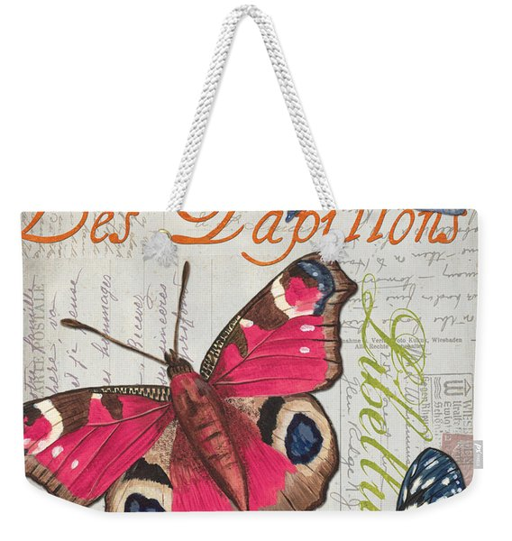 Grey Postcard Butterflies 1 Weekender Tote Bag