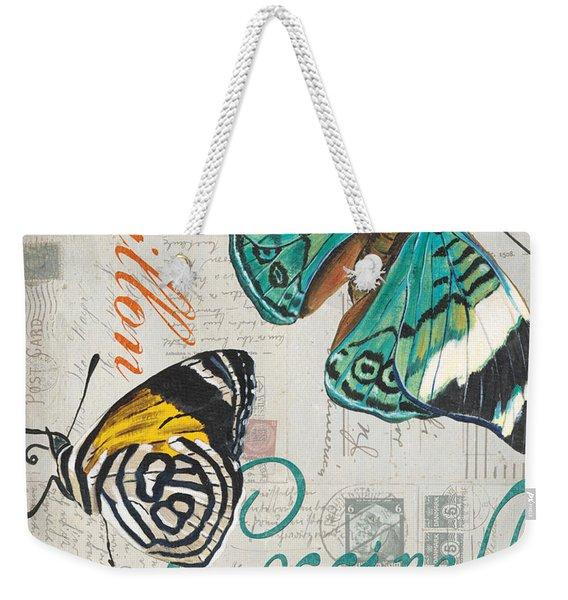 Grey Postcard Butterflies 2 Weekender Tote Bag
