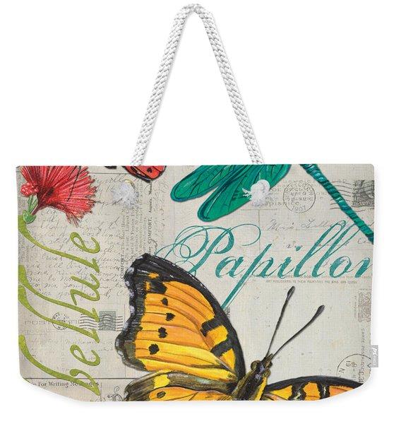 Grey Postcard Butterflies 3 Weekender Tote Bag