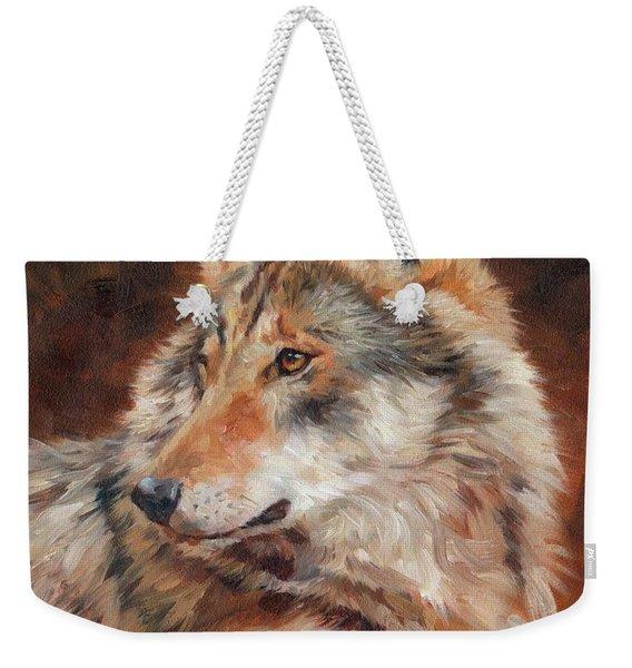 Grey Wolf Portrait Weekender Tote Bag