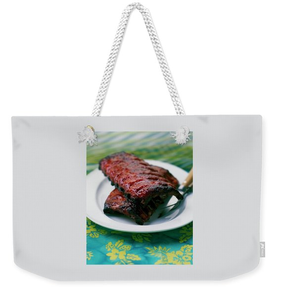 Grilled Ribs On A White Plate Weekender Tote Bag