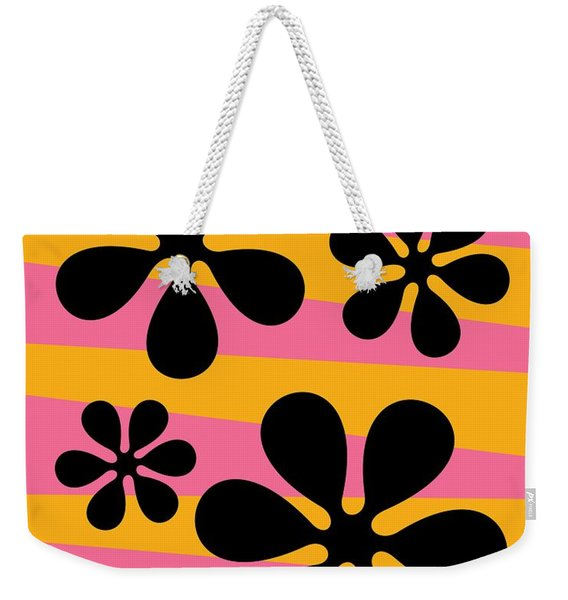 Weekender Tote Bag featuring the digital art Groovy Flowers I by Donna Mibus