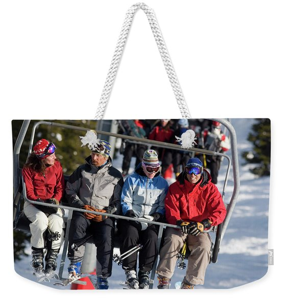 Group Of Friends Ride The Chair Lift Weekender Tote Bag