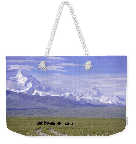 Group Of Yaks Walk Across A Green Weekender Tote Bag