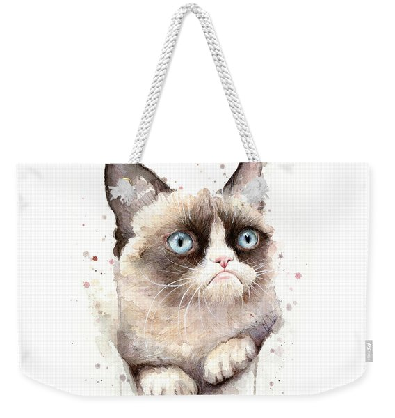 Grumpy Cat Watercolor Weekender Tote Bag