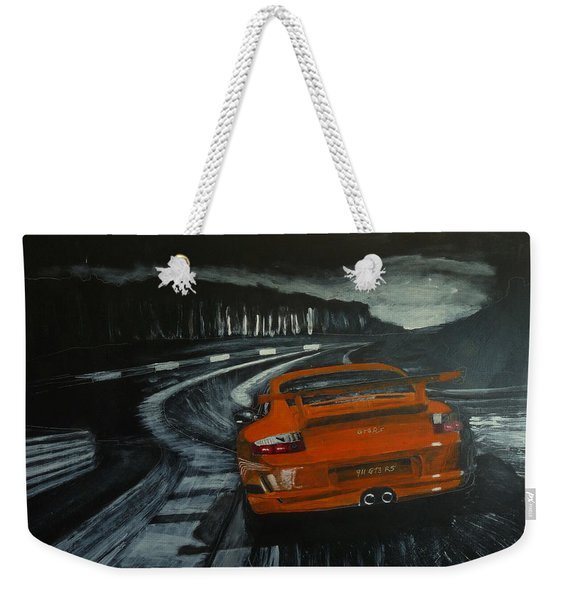 Weekender Tote Bag featuring the painting Gt3 @ Le Mans #2 by Richard Le Page
