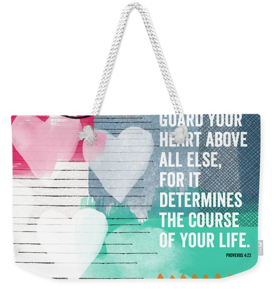 Guard Your Heart- Contemporary Scripture Art Weekender Tote Bag