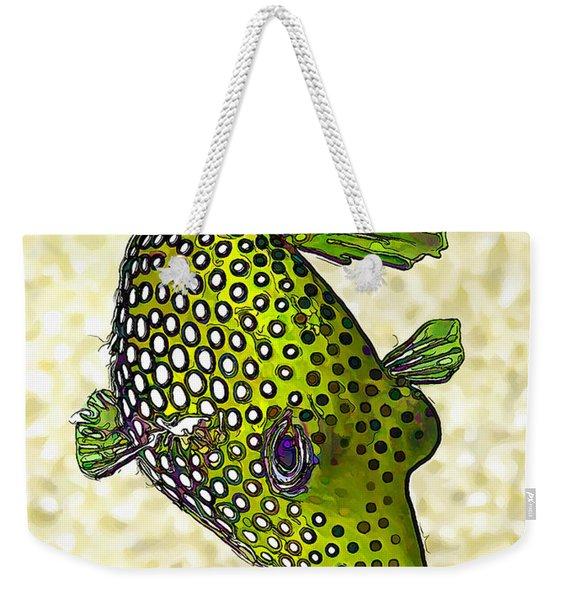 Guinea Fowl Puffer Fish In Green Weekender Tote Bag
