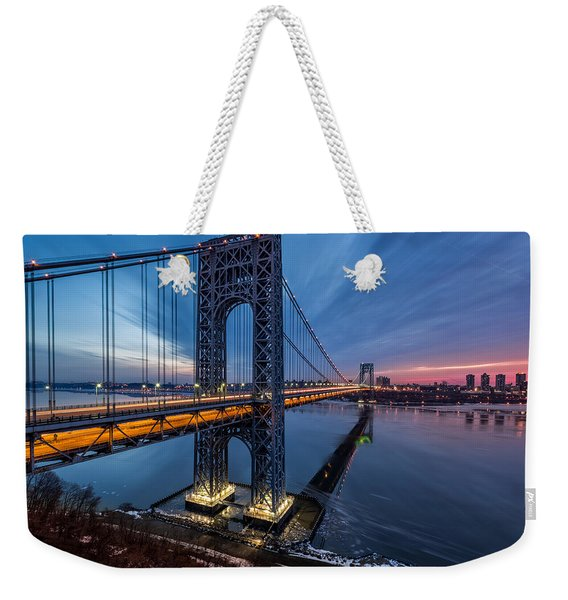 Weekender Tote Bag featuring the photograph Gwb Sunrise by Mihai Andritoiu
