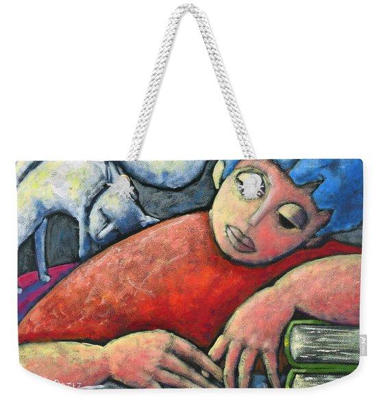 Weekender Tote Bag featuring the painting Haciendo Tareas En Mi Cuarto by Oscar Ortiz