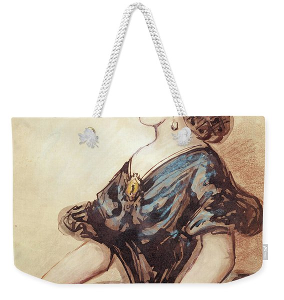 Half Length Portrait Of A Woman Wc And Ink On Paper Weekender Tote Bag
