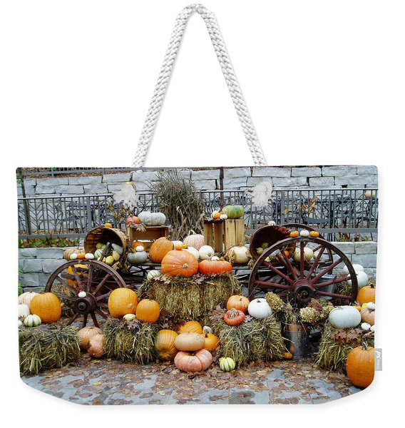 Weekender Tote Bag featuring the photograph Halloween Pumpkins by Susan Leonard