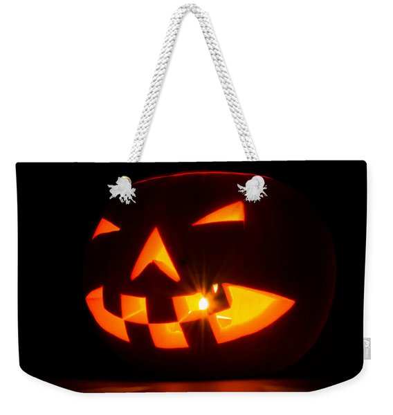 Weekender Tote Bag featuring the photograph Halloween - Smiling Jack O' Lantern by Scott Lyons