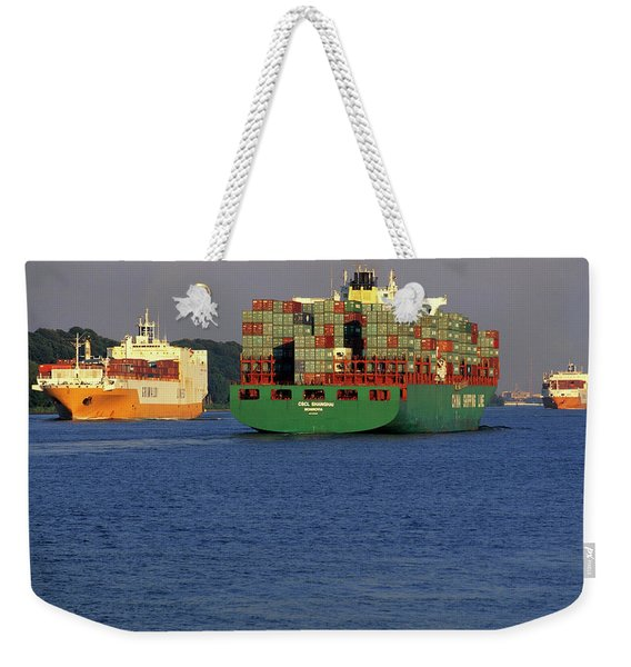 Hamburg, Germany Large Container Ship Weekender Tote Bag