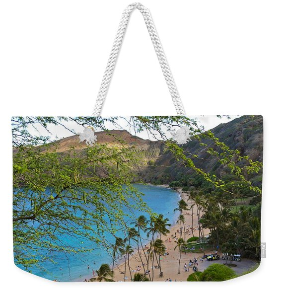 Hanauma Bay Nature Preserve Beach Through Monkeypod Tree Weekender Tote Bag