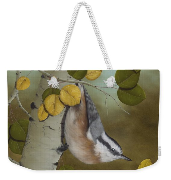 Hanging Around-red Breasted Nuthatch Weekender Tote Bag