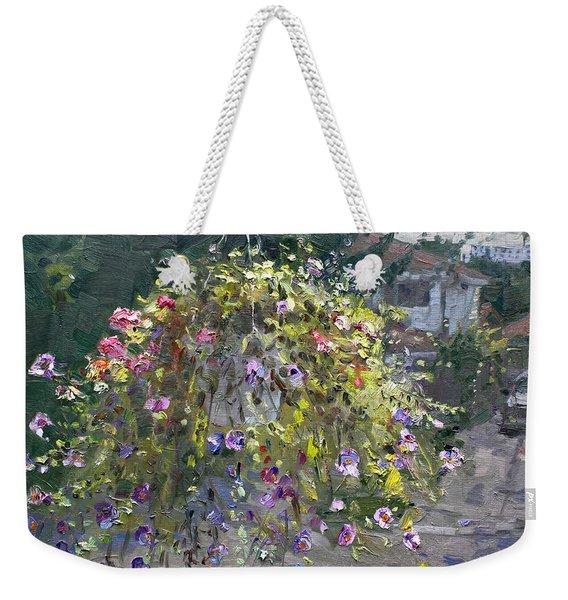 Hanging Flowers From Balcony Weekender Tote Bag
