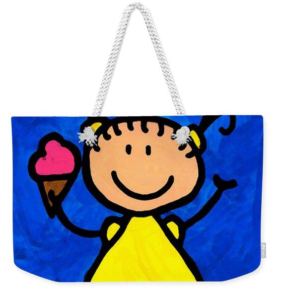 Happi Arte 3 - Little Girl Ice Cream Cone Art Weekender Tote Bag
