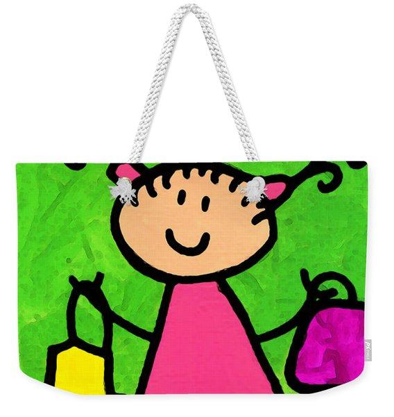 Happi Arti 5 - Shopaholic Little Girl Art Weekender Tote Bag