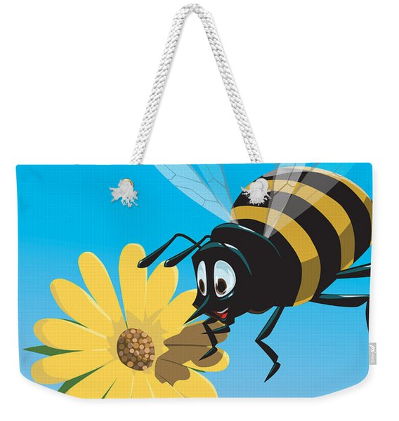 Happy Cartoon Bee With Yellow Flower Weekender Tote Bag