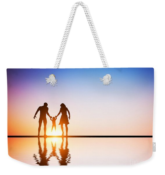 Happy Family Together Parents And Their Child At Sunset Weekender Tote Bag