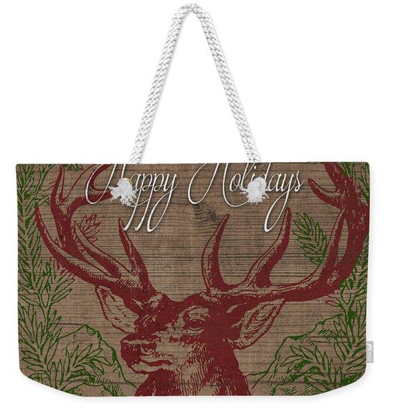 Happy Holidays Deer Weekender Tote Bag