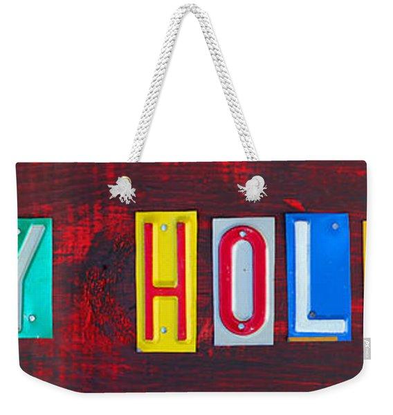Happy Holidays License Plate Art Letter Sign Weekender Tote Bag