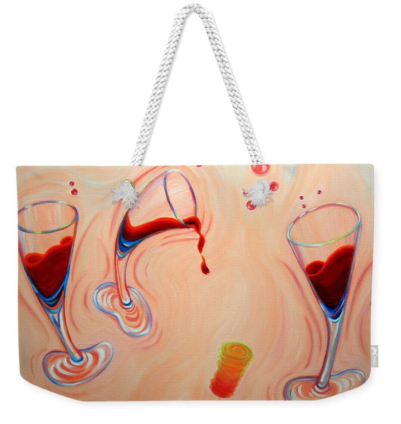Weekender Tote Bag featuring the painting Happy Hour by Sandi Whetzel
